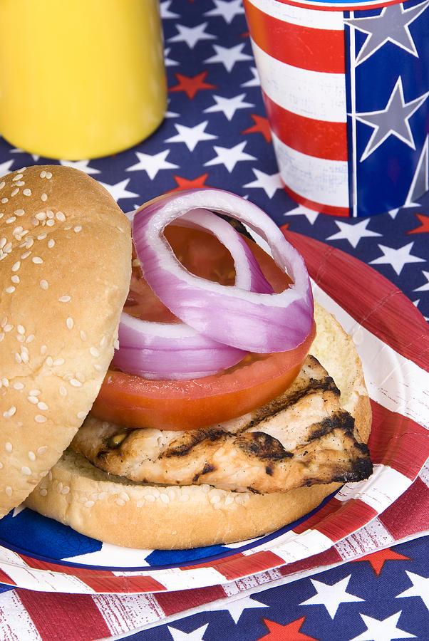 Chicken Photograph - Chicken Burger On Fourth Of July by Joe Belanger