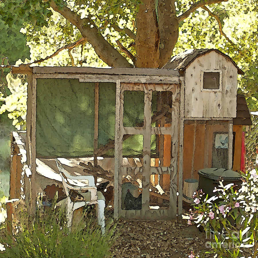 Chickens Painting - Chicken Coop On The Farm by Artist and Photographer Laura Wrede