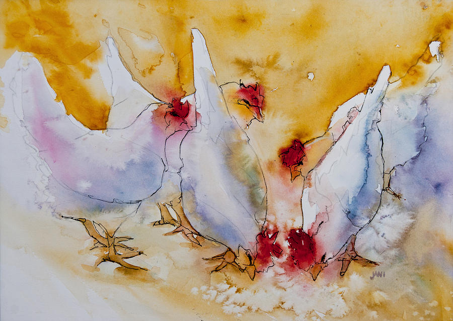 Chickens Painting - Chickens Feed by Jani Freimann