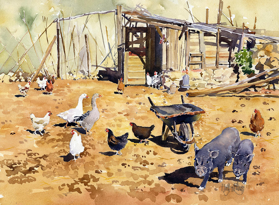 Farm Painting - Chickens Geese And Little Pigs by Margaret Merry