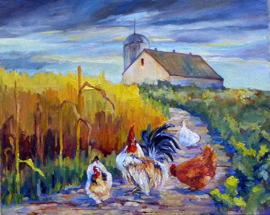 Chickens Painting - Chickens In The Cornfield by Peggy Wilson