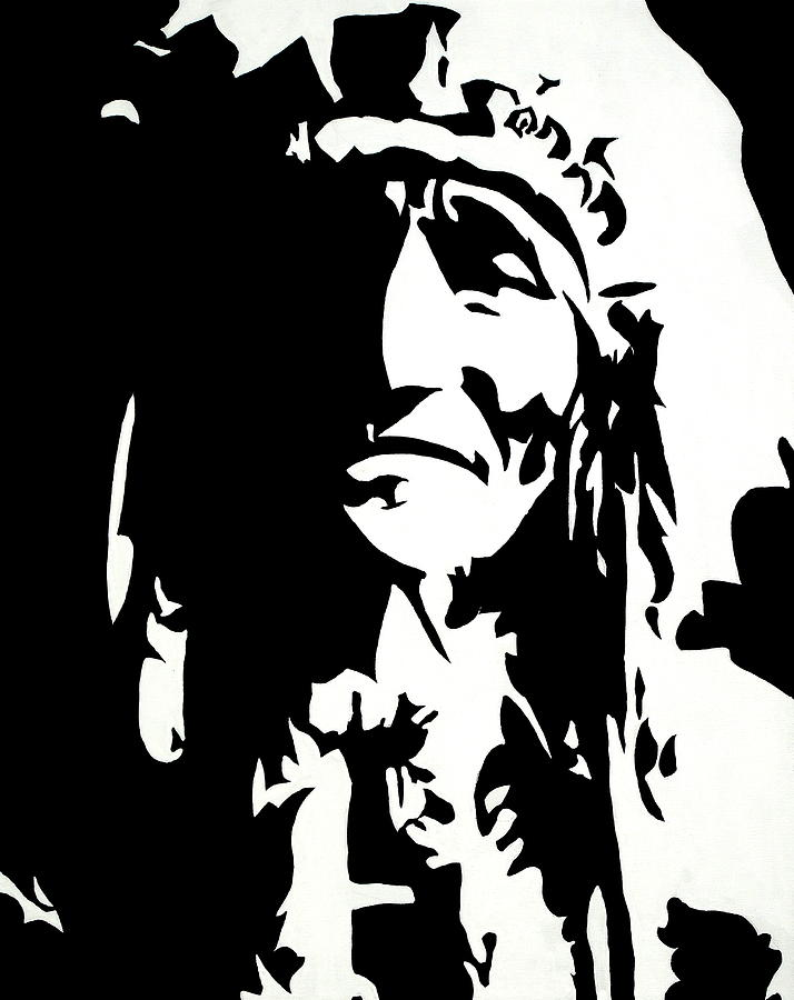 Black And White Painting - Chief Half In Darkness by HJHunt