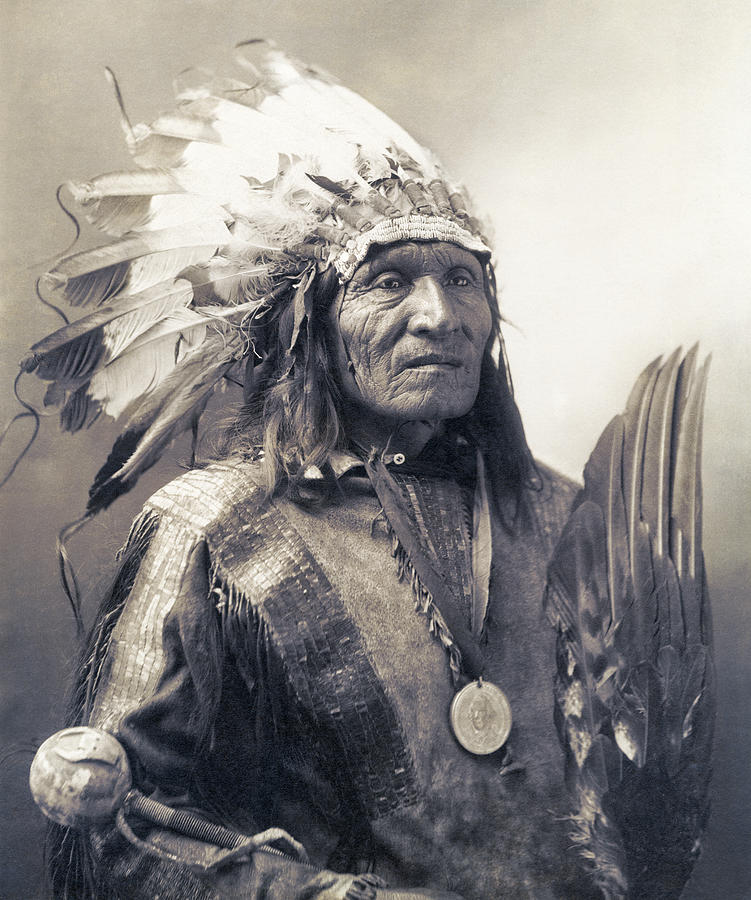 Indian Photograph - CHIEF HE DOG of the SIOUX NATION  c. 1900 by Daniel Hagerman