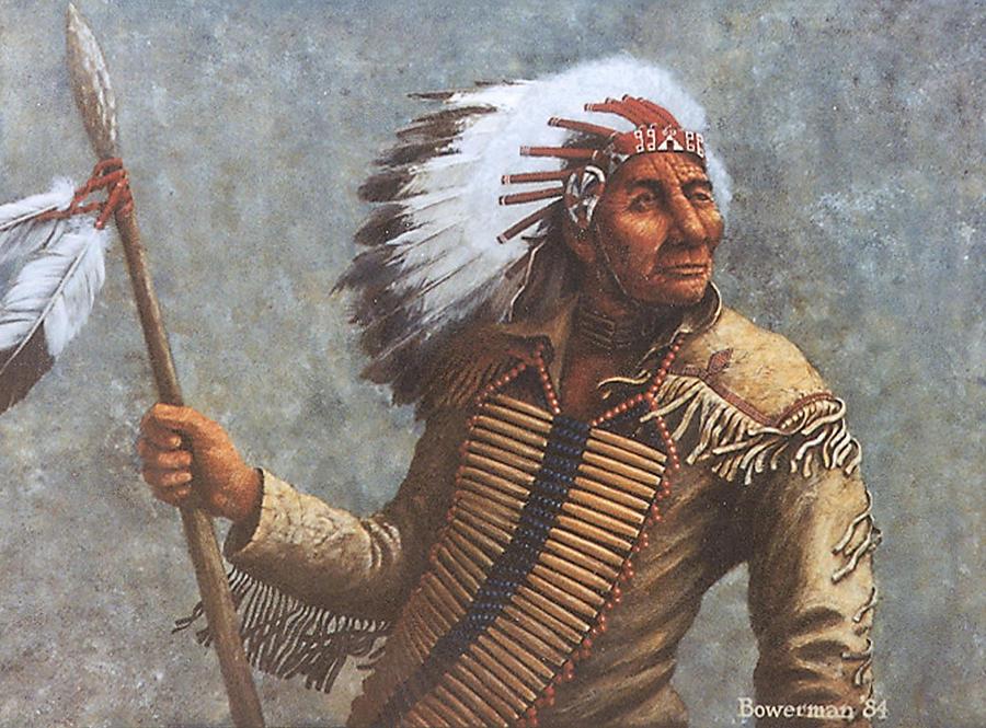 Native American Painting - Chief Knife by Lee Bowerman
