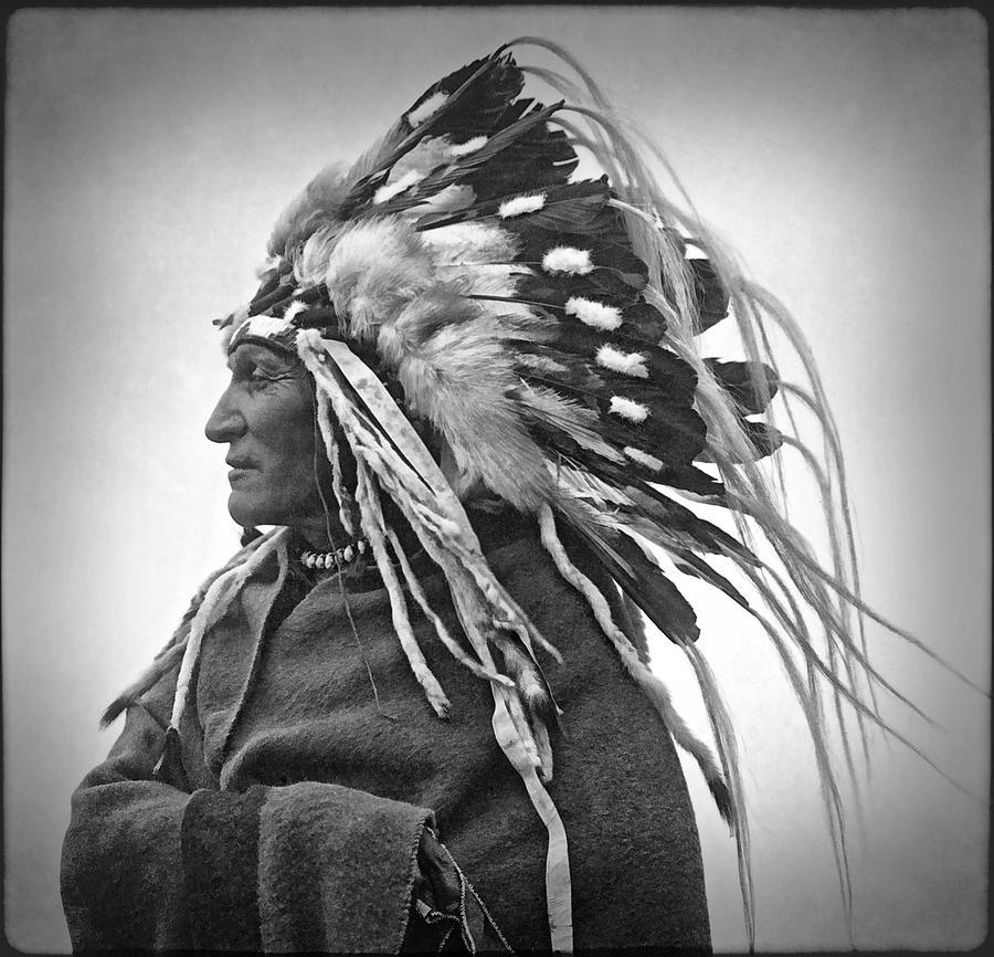 Indian Photograph - Chief Lazy Boy - 1918 by Daniel Hagerman