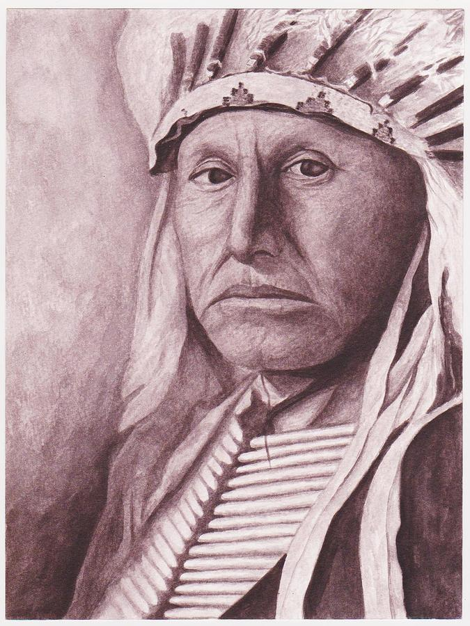 Chief Red Tomahawk Painting by Billie Bowles