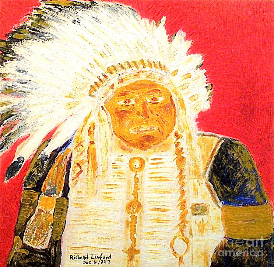 Chief Painting - Chief Seattle 1 by Richard W Linford