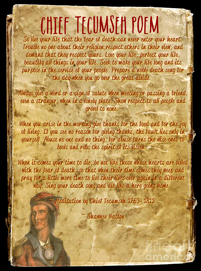 Tecumseh Mixed Media - Chief Tecumseh Poem - Live Your Life by Celestial Images