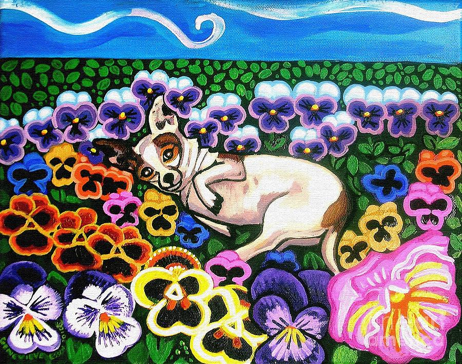 Dog Portrait Painting - Chihuahua In Flowers by Genevieve Esson