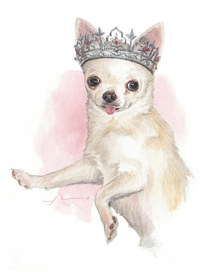 Chihuahua Princess Watercolor Portrait Drawing by Mike Theuer