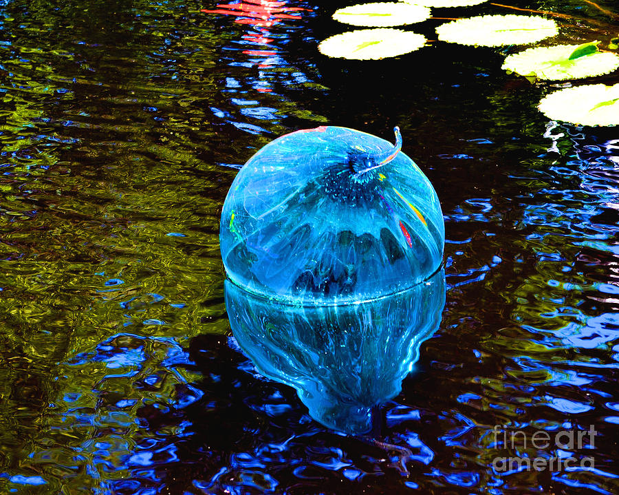 Blue Photograph - Artsy Blue Glass Float by Luther Fine Art