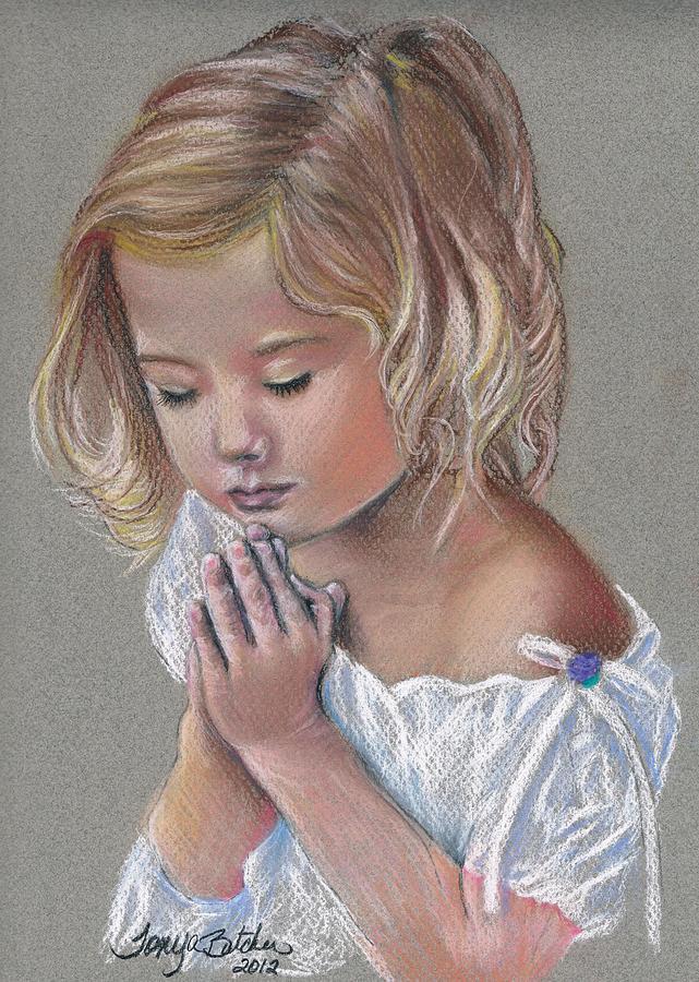 Child Praying Pastel - Child In Prayer by Tonya Butcher