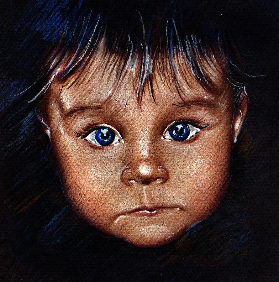 Blue Eyes Drawing - Child Portrait by Daliana Pacuraru