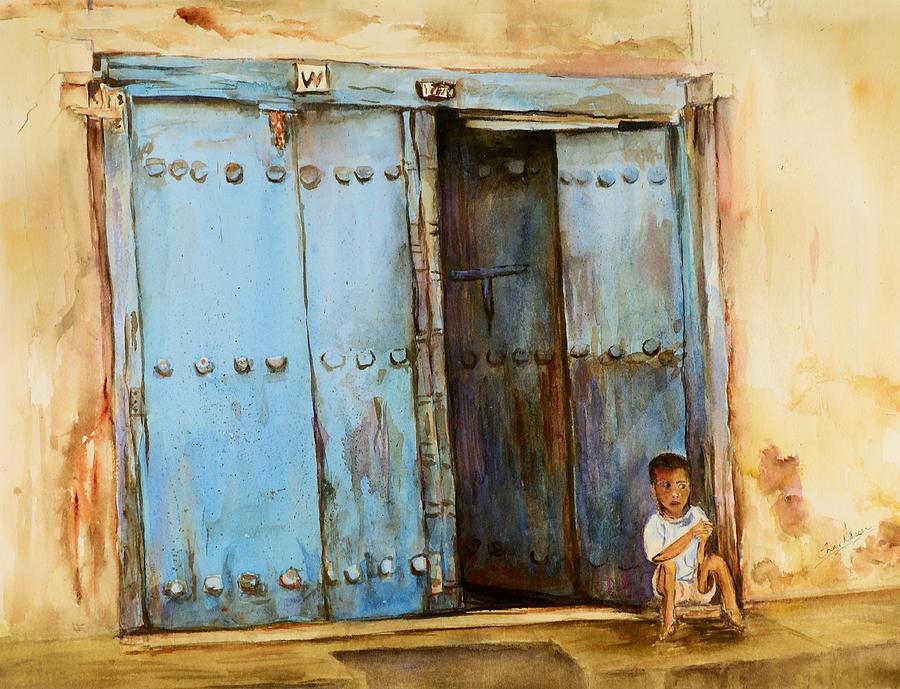 Doorway Painting - Child Sitting In Old Zanzibar Doorway by Sher Nasser