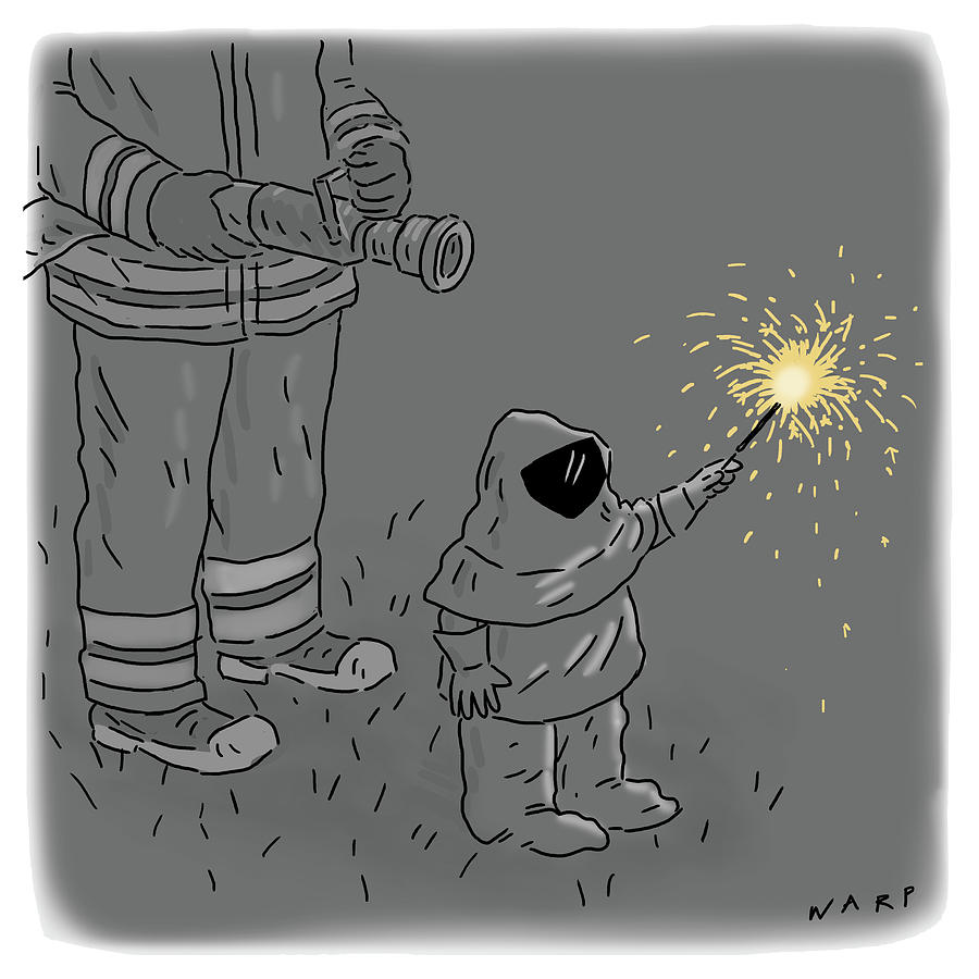 Child Wearing A Hazmat Suit Holding A Sparkler Drawing by Kim Warp