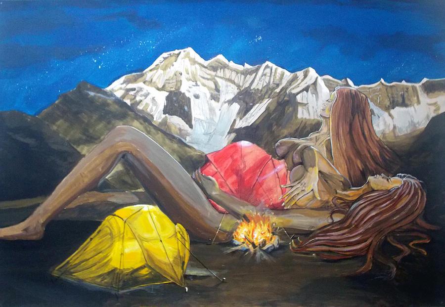 Landscape Painting - Childbirth Camp  by Lazaro Hurtado