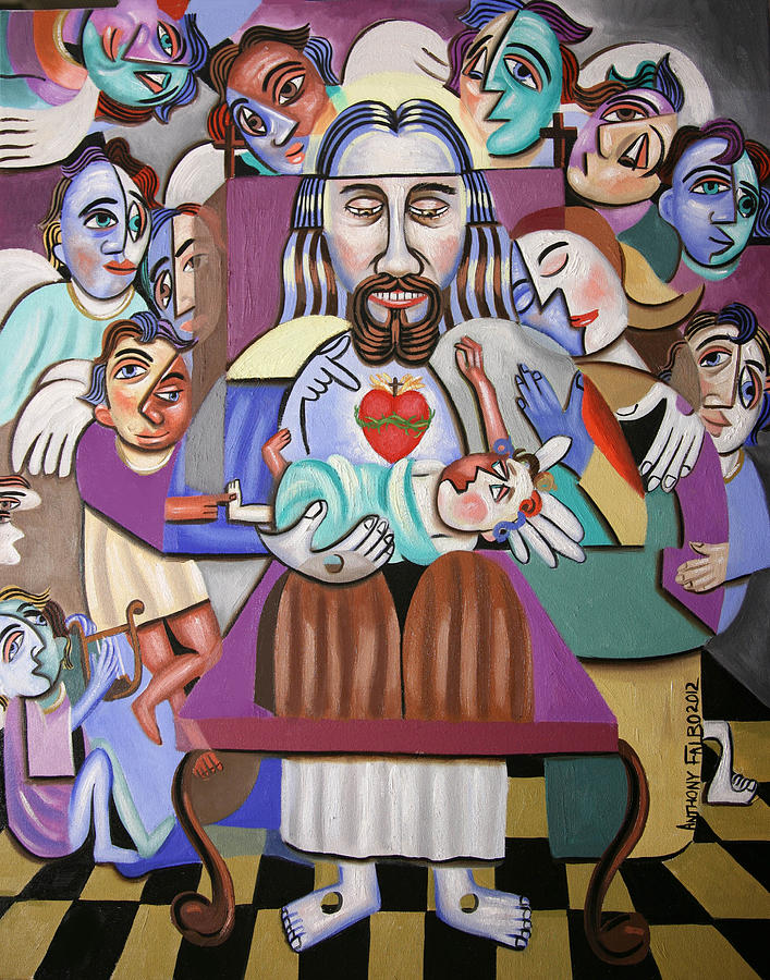 Jesus Painting - Childern A Gift From God by Anthony Falbo