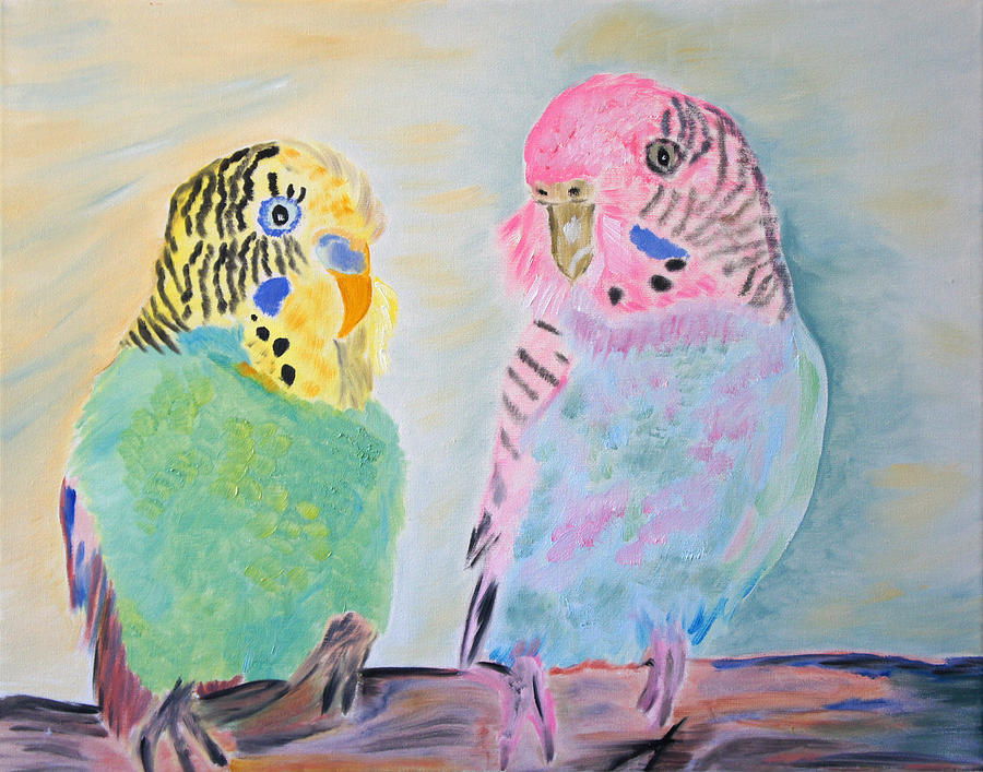 Parakeets Painting - Childhood Parakeets by Meryl Goudey