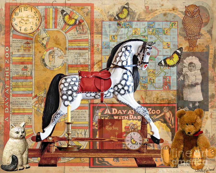 Rocking Horse Digital Art - Childhood Treasures by Judy Wood