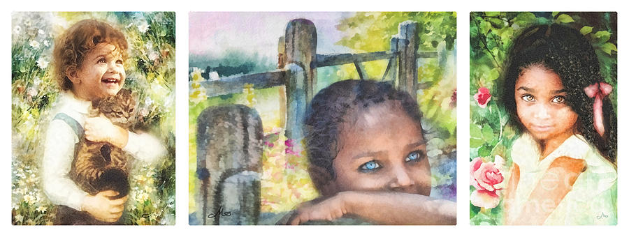 Child Painting - Childhood Triptic by Mo T