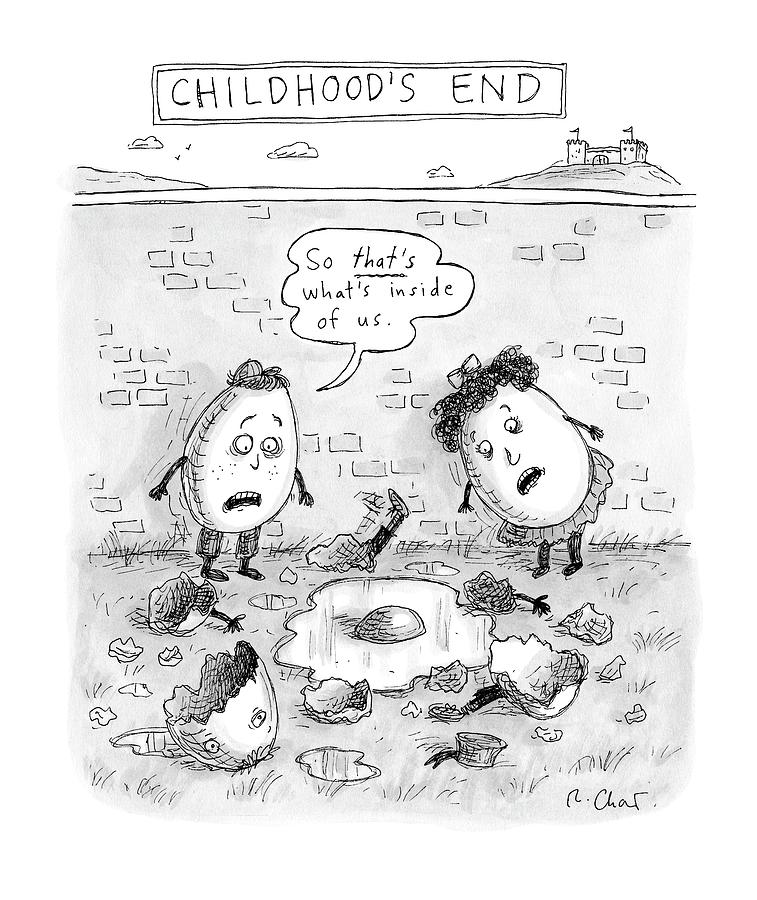 Childhoods End: Two Egg-children Stand Drawing by Roz Chast