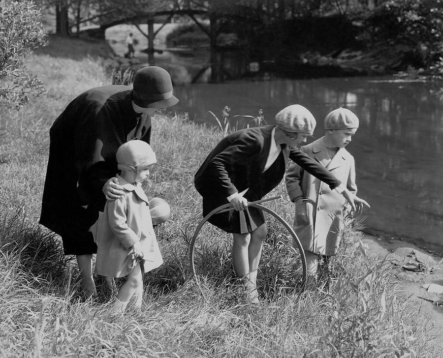Children And Their Nanny Playing Photograph by Edward Steichen