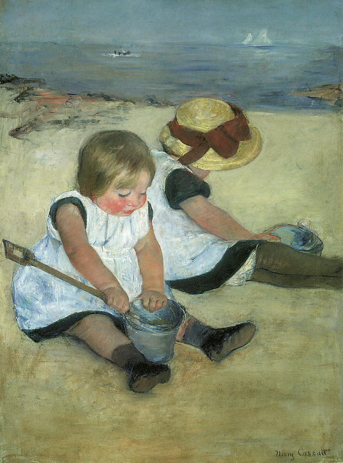 Mary Cassatt Painting - Children At The Seashore by Mary Cassatt