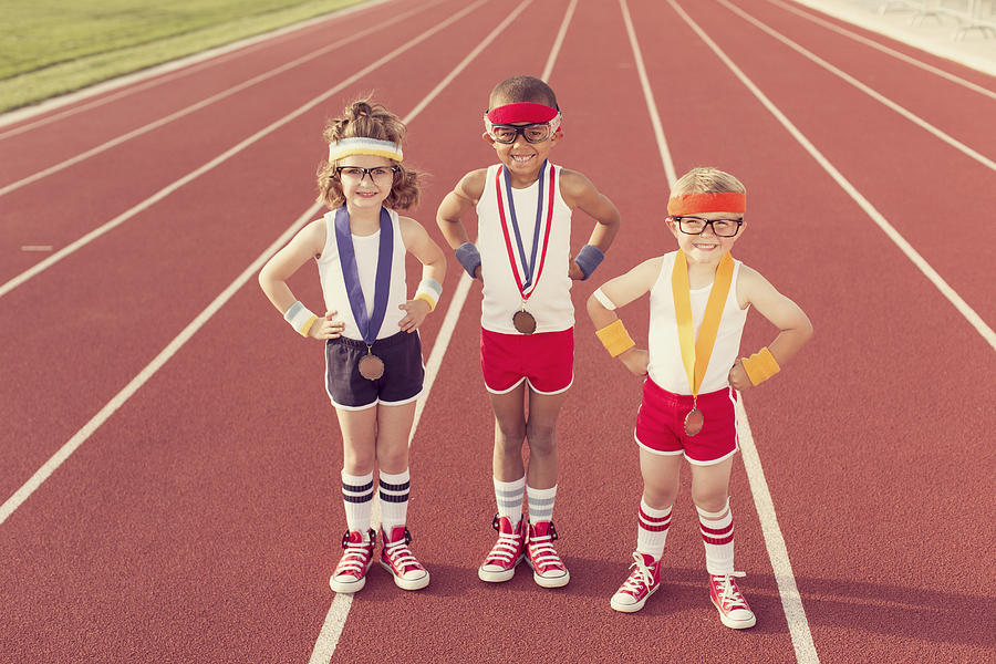 Children Dressed as Nerds at Track Wearing Medals Photograph by RichVintage