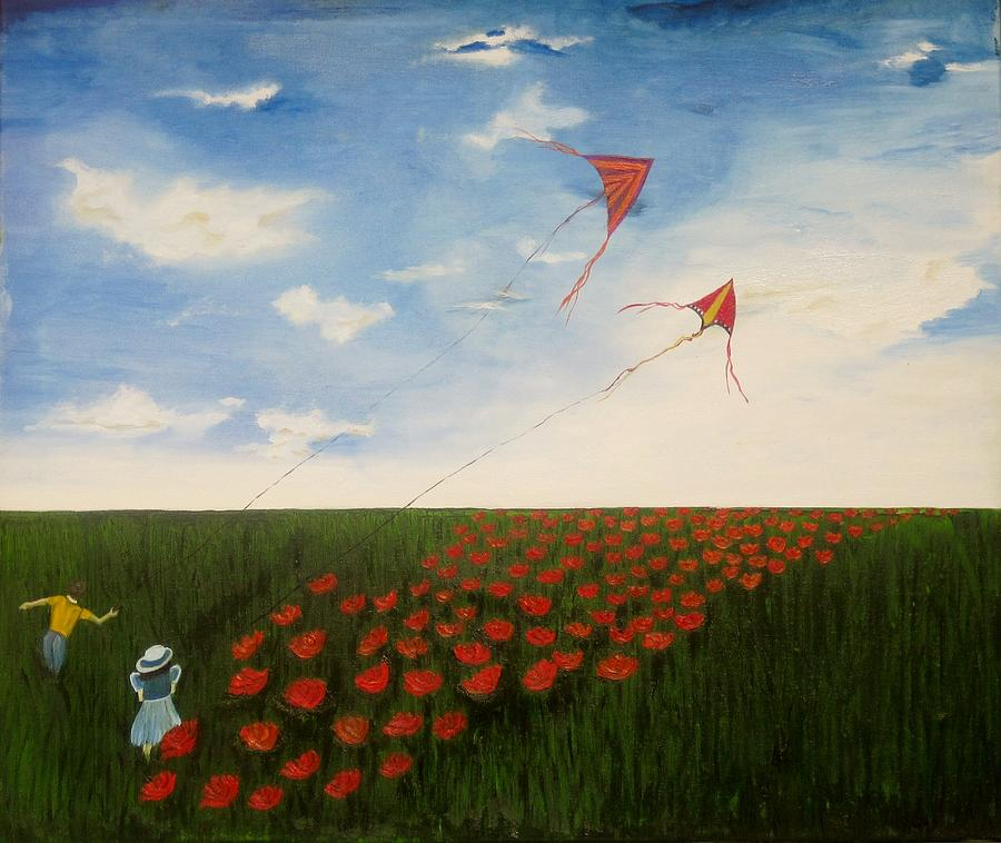 Children Flying Kites Painting by Rejeena Niaz