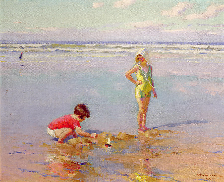 Children On The Beach Painting By Charles Garabed Atamian