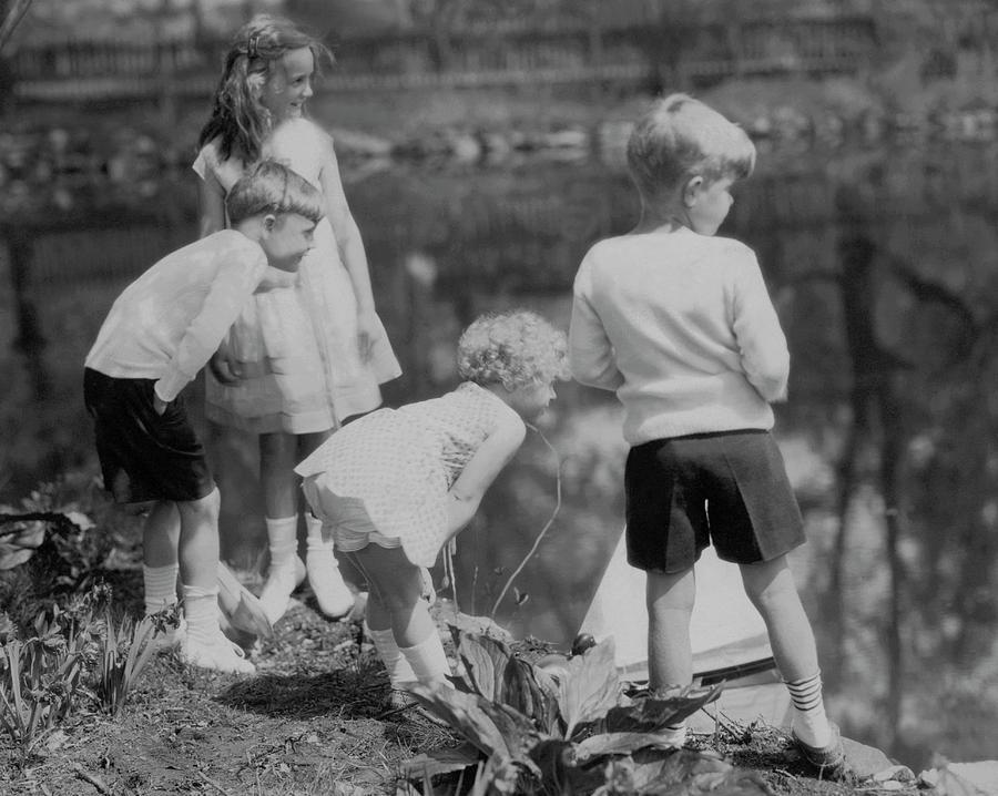 Children Playing Beside A Pond Photograph by Edward Steichen