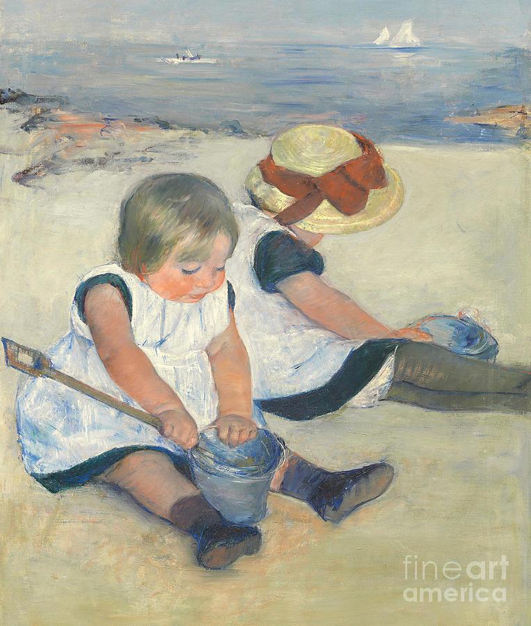 Child; Bucket; Spade; Seaside; Holiday; Victorian; Smock; Girl; Girls; Straw; Hat; Coast; Scene Painting - Children Playing On The Beach by Mary Stevenson Cassatt