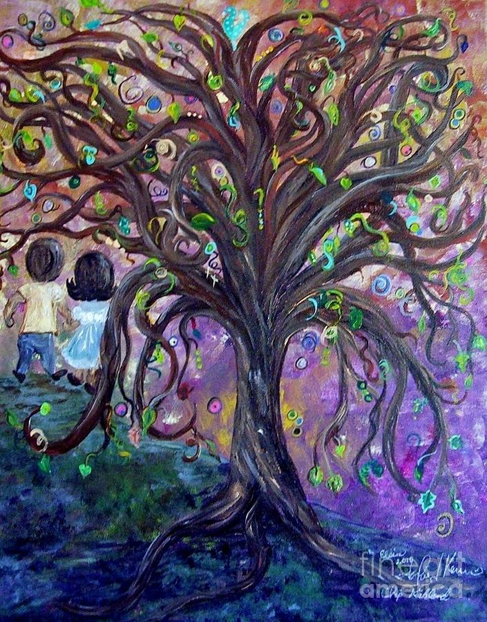 Child Painting - Children Under The Fantasy Tree With Jackie Joyner-kersee by Eloise Schneider