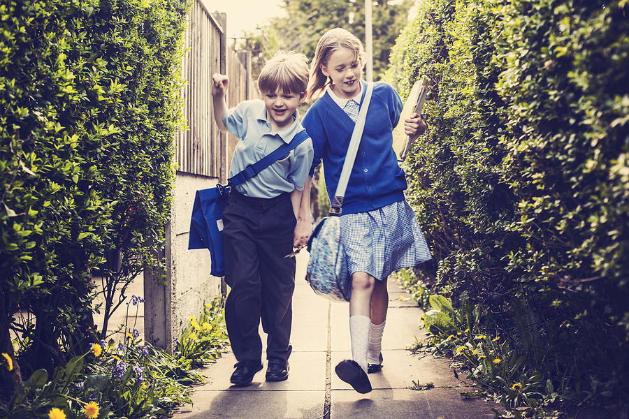 Children Walking Home From School Photograph by Sally Anscombe