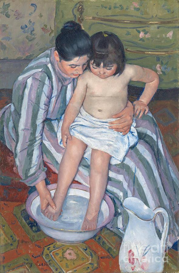Motherhood Painting - Childs Bath 1893 by  Mary Stevenson Cassatt