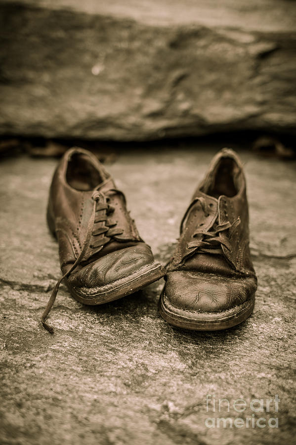 Child Photograph - Childs Old Leather Shoes by Edward Fielding