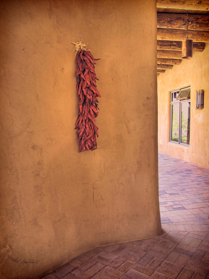 Peppers Photograph - Chili Peppers On Adobe Wall by Ann Powell