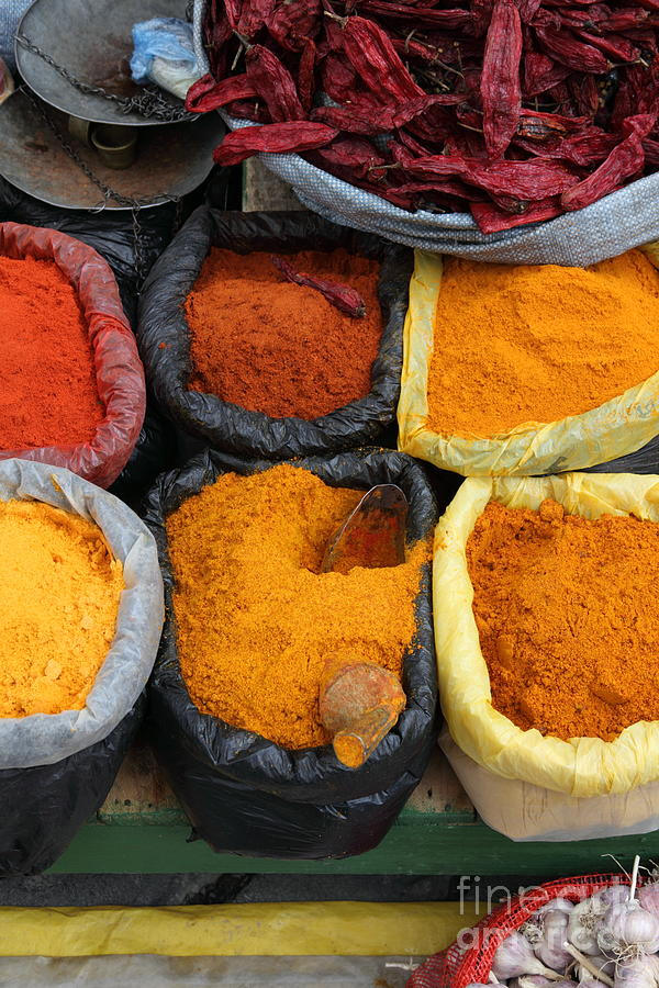 Markets Photograph - Chilli Powders 3 by James Brunker
