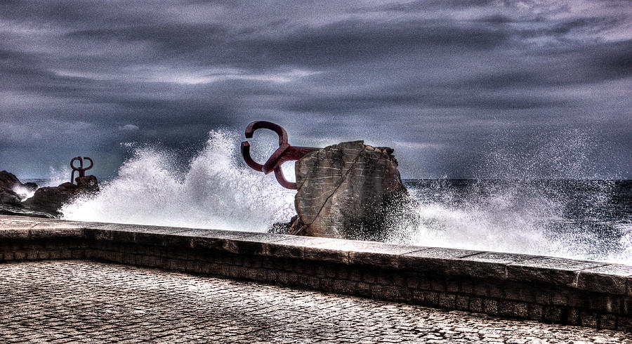 Comb Photograph - Chillidas Comb Of The Wind In San Sebastian Basque Country Spain by Weston Westmoreland