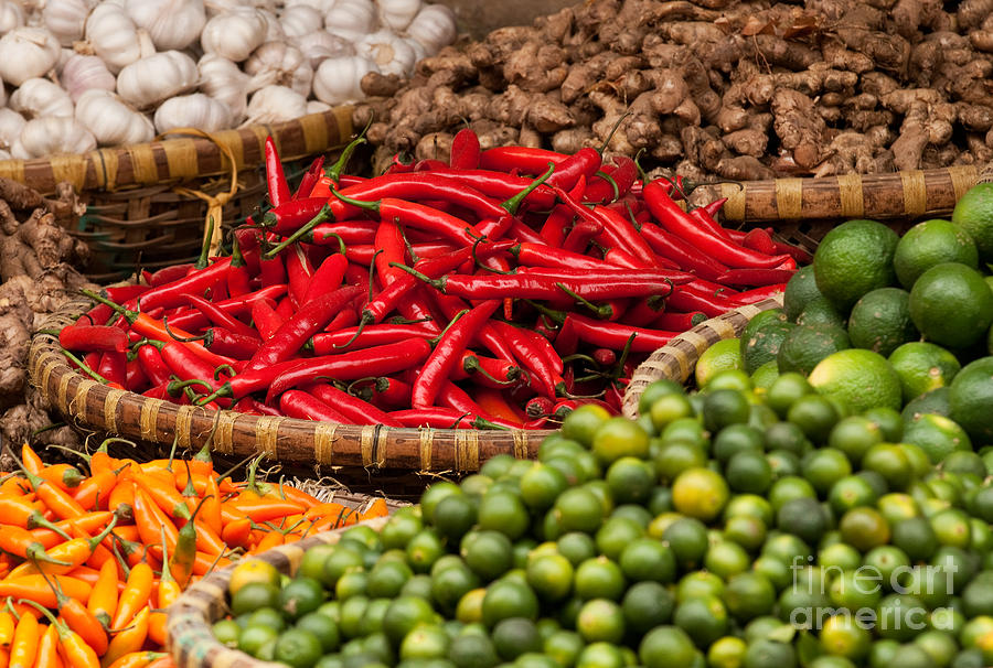 Basket Photograph - Chillies 01 by Rick Piper Photography