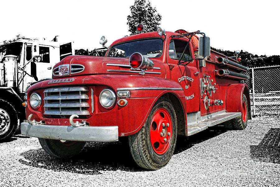 Old Fire Truck Photograph - Chilliwack Fire- Mercury Firetruck by Randy Harris