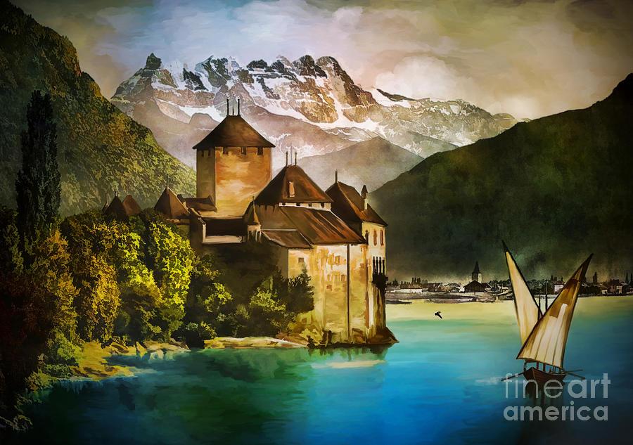 Castle Painting - Chillon Castle  by Andrzej Szczerski