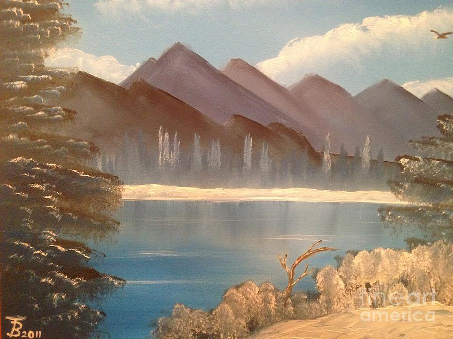 Original Painting - Chilly Mountain Lake by Tim Blankenship