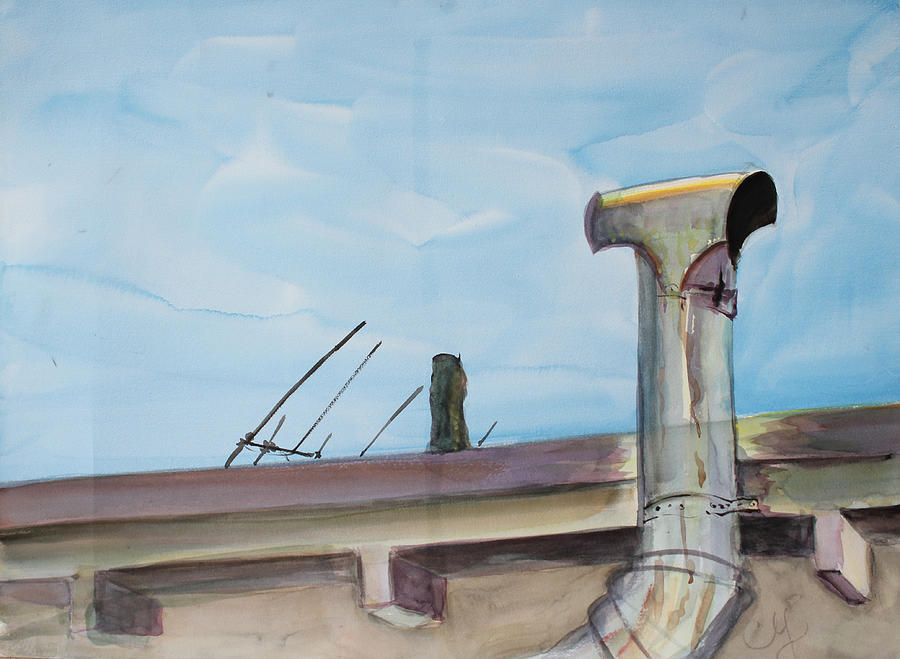 Watercolor Painting Painting - Chimney Pipe And Berkeley Sky by Asha Carolyn Young