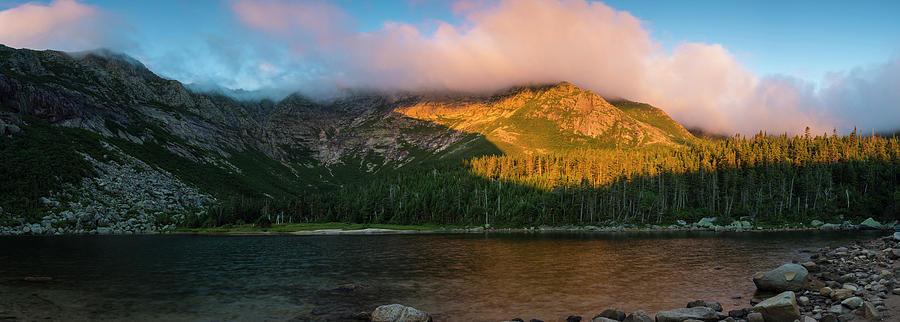 Appalachians Mountains Photograph - Chimney Pond And Mount Katahdin by Jerry Monkman