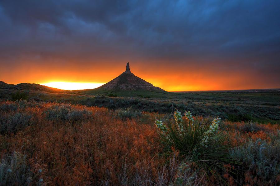 Chimney Photograph - Chimney Rock Sunset by Chris Allington
