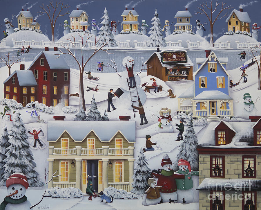 Chimney Smoke And Cheery Snow Folk Painting By Catherine