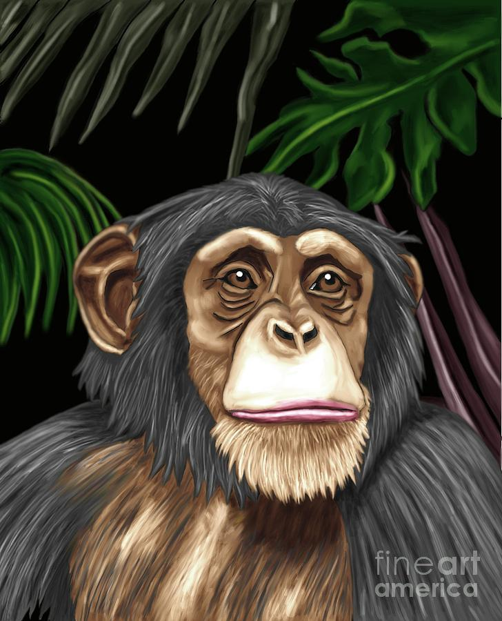 Monkey Painting - Chimp by Karen Sheltrown
