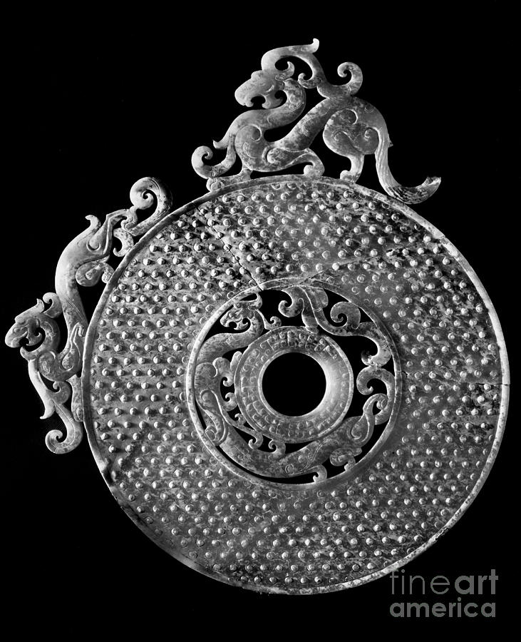 Ancient Photograph - China - Jade Disk by Granger