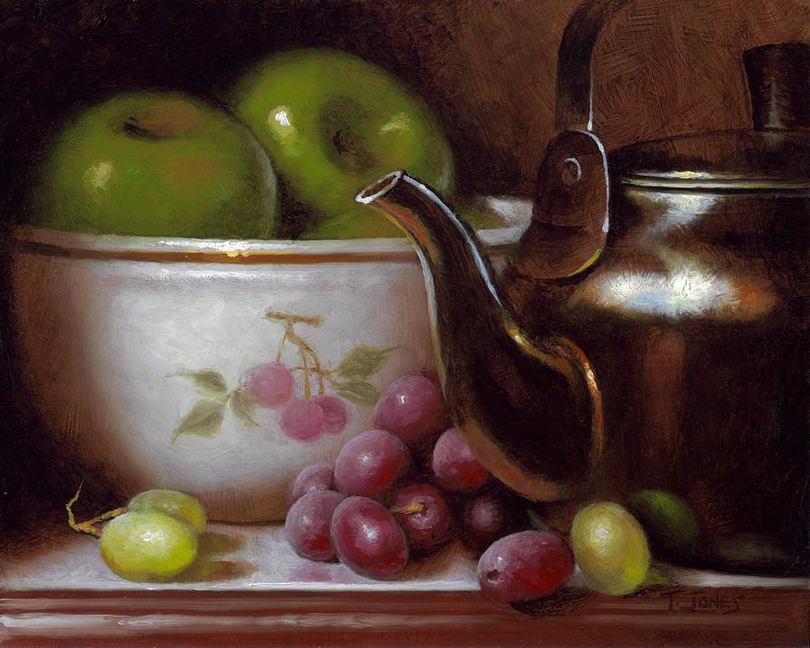 China Painting - China Bowl And Teapot by Timothy Jones